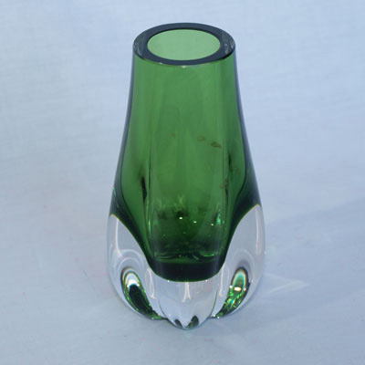 GREEN GLASS VASE 1960's